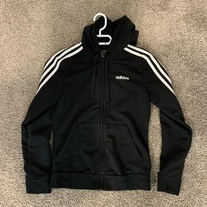 adidas black long sleeve zip up hoodie